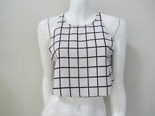 ICE sz S/10 white/black check crop top AS NEW