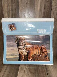 Vintage Mead Trapper Keeper Notebook 3 Ring Binder Bengal Tiger Blue 1980s 1990s