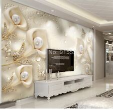 3D Sitting room bedroom TV background Calla Lily pearl Embossed wallpaper
