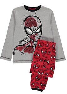 Official Marvel Spiderman Super Hero Grey Red Long 3D Pyjamas Pjs 5-6 Years New
