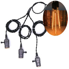 E27 Triple Hanging Lamp Socket 5M Black Pendant Light Edison T300 Long Tube Bulb