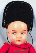 Drum Major Celluloid Doll Marching Band Vintage Red Coat Black Hat White Pants