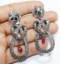 Sapphire Ruby Dangle 925 Sterling Silver Antique Victorian Diamond Earring E-104