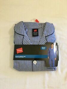 New Hanes Men's Cotton Pajama Blue Stripe Small S