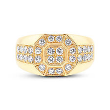 Mens 1.18tcw 14K Yellow Gold Round Diamond Mans Fashion Right Hand Cocktail Ring
