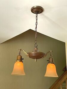 Antique Vintage Brass Hanging 2-Light Ceiling Fixture w/Arms Art Glass Shades