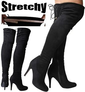 Womans Sexy Black Over the Knee High Boots Stretch Wide Fit Calf Stiletto Heel