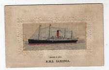 TRANSPORT, SHIPPING, R.M.S. SAXONIA, WOVEN SILK