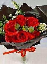 Artificial Red Rose Bouquet Black Cello Silk Flower 6 Head Wedding Valentines