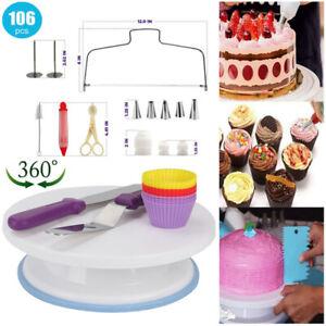 Tortenplatte drehbar Standfuß Torten Drehteller mit Gebäckwerkzeug für Kuchen DE