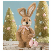 Bethany Lowe Easter Brown Wool Little Miss Bunny Eggs Retro Vntg Decor Figurine