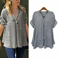 Women Tops Short Sleeve T-shirt Casual Plaid Shirt Tops Blouse Plus Size Outwear