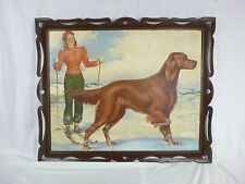 Vtg 40s Original Altes Beer Ad Painting Arnold Armitage Skier Irish Setter
