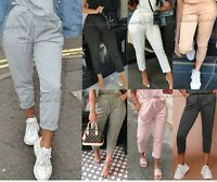 Womens Ladies High Waist Boxy Bottom Jogging Joggers Loungewear Trousers Pants