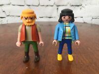 Playmobil Figures 1992 Couple Man And Woman Beard Vest Jacket  #10