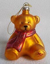 Vintage Rare HAMLEYS Golden Teddy Bear Glass Christmas Tree Bauble ~ Boxed