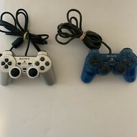 Sony Playstation PS2 Official/OEM Dualshock 2 Silver And Clear Blue Controller