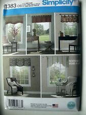 "Simplicity Pattern 1383 Valances for 36"" to 40"" Wide Windows Curtains Treatment"