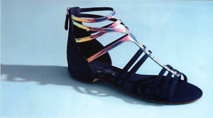 AUTHENTIC NEW CHANEL NAVY SUEDE & HOLOGRAM GLADIATOR SANDALS  (OMG!) ~ 38