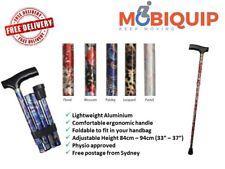 Folding Aluminium Walking Stick - Walking Cane - Range of 5 Colourful Styles