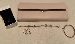 Pandora Bulk Lot Bundle 925 Silver Bangle Ring Bracelet Charms Earrings And Case