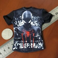 "New 1/6 Scale Tee Black Short Sleeves T-Shirt Spiderman F12"" Male Action Figure"