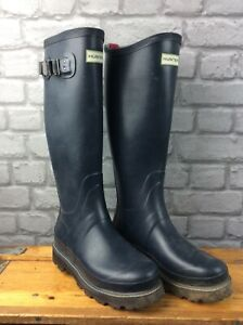 HUNTER LADIES UK 6 EU 39 FIELD BALMORAL TALL WELLINGTON BOOTS BLACK RRP £130 K