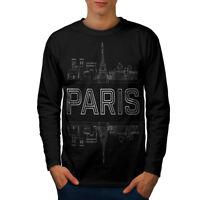 Wellcoda Paris City Design Mens Long Sleeve T-shirt, France Graphic Design
