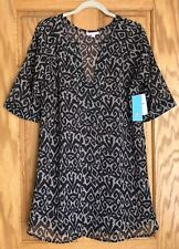 PITAHAYA of Mexico  Sheer Swimsuit Cover Up  Black & Tan Print  Size M