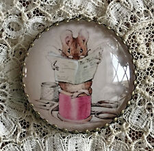 TAILOR OF GLOUCESTER Glass DOME BUTTON 1 1/4 VINTAGE Beatrix Potter MOUSE Sewing
