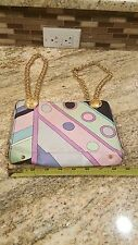 Emilio Pucci Pink Green and black Print Bag with Gold Chain