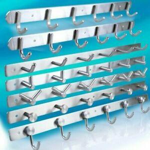 4-15 Wall Mounted Hooks Rack Coat Hat Hanger Rail Holder Stainless Steel Silver