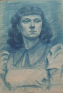 FRIED PAL (1893-1976), Original Blue Pastel on Paper, Woman Figure Study, Signed