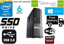 Fast DELL 7010 SFF Desktop PC i7 3770 3.4Ghz 16GB 128GB SSD DVD DI WINDOWS 10 WIFI""