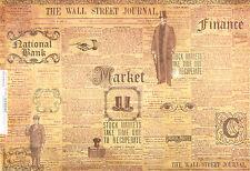 Carta DI RISO PER DECOUPAGE SCRAPBOOKING foglio VINTAGE il Wall Street Journal
