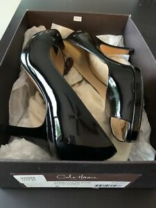 Cole Haan Womens Black Patent Leather Heels Carma OT Air Pump Size 8 Nik-e Sole