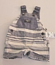 OshKosh Blue Chambray Striped Shortalls Short Overalls...