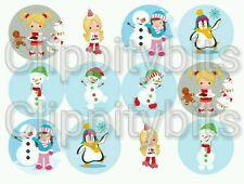 """50 X 1"""" pulgadas Pre Cut Bottle Cap Images Invierno Muñeco De Nieve Navidad MIX artesanías Arcos"""
