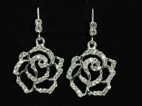 Rose clear Austrian Crystal Rhinestone crystal on hook dangle Earrings T05