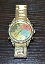 Fashion Men Watch World Map Dial Analog Quartz Wrist Watch Stainless Steel Gold