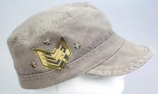 Gray/Tan Stars & Stripes Military Style Cap Hat