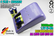 CHARGEUR VIVANCO CHARGER + 4 PILES ACCUS RECHARGEABLE NI-MH 1.2V AA 3900MAH LR06
