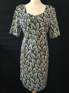 Joe Browns fitted dress african print 16 green stretch
