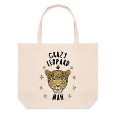 Crazy Leopard Man Large Beach Tote Bag - Funny Animal Shopper Shoulder