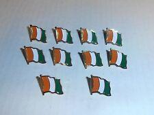 Wholesale Lot of 10 Ivory Coast Flag Lapel Pin, Brass Finish, BRAND NEW