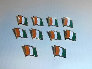 Wholesale Lot of 10 Ivory Coast Flag Lapel Pin, Brass Finish, BRAND NEW