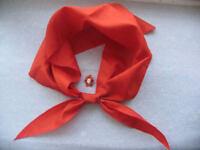 ORIGINAL Pioneer Tie Scarf USSR Boy Scout & PIN Badge Soviet пионерский галстук