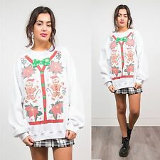 VINTAGE 90'S CHRISTMAS CHRISTMAS SWEATSHIRT SWEATER XMAS NOVELTY BUTTONS BOW 24