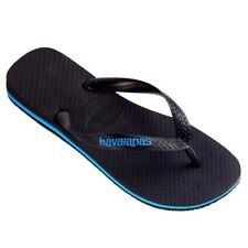 Havaiana Rubber Logo Thong (Black/Blue) - Mens