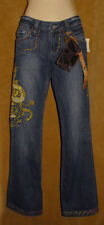ANTIK DENIM - Blue - Stretchy DENIM Dragon Embroidered Lowrise Jeans sz 3 *NEW